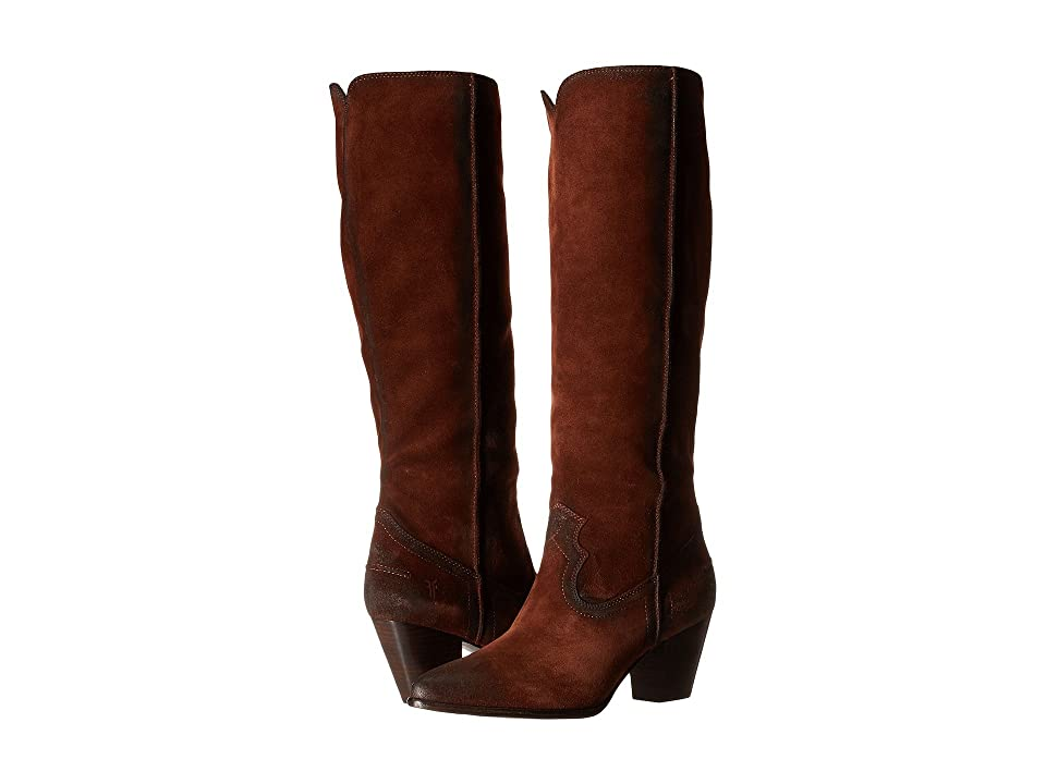 Frye Renee Seam Tall (Brown Oiled Suede) Cowboy Boots