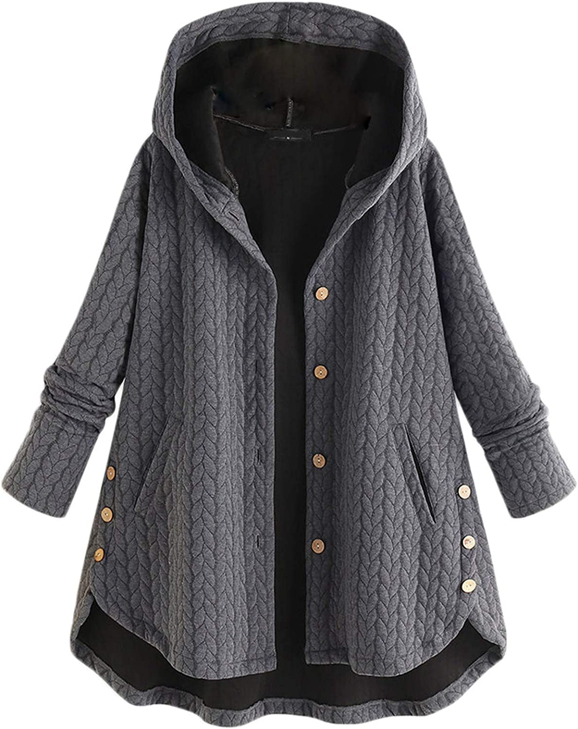 Andongnywell Women's Corduroy Coats Long Sleeve Button Down with Pockets Cotton Corduroy Hooded Cotton Jacket