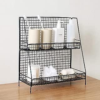 bathroom shelves with baskets