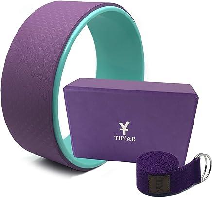 Tiiyar Yoga Kit - Yoga Wheel Yoga Block and Strap Set with E-Book Guide