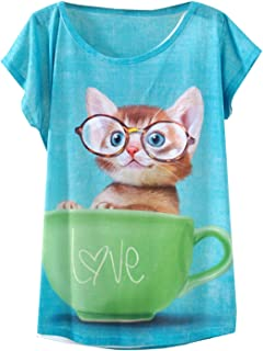 Women's Lovely Cup Cat in Teacup Print Short Sleeve T Shirt Tops