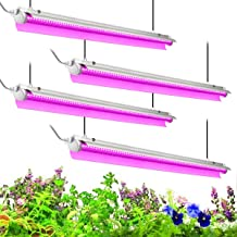 Byingo 4ft LED Grow Light, 168W (4 x 42W) 2-Row V-Shape T8 Integrated Fixture Plug and Play - with Reflector Combo Great for Indoor Plants, Pack of 4