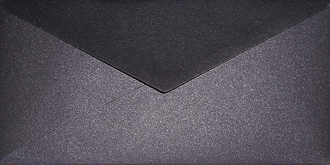 25 Perlmutt-Schwarz Umschläge DIN C5 162x229mm Aster Metallic Black Spitzklappe