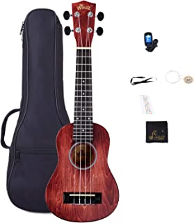Soprano Vintage Hawaiian Ukulele WINZZ 21-inch with Bag, Tuner, Strap, Extra Strings, Fingerboard Sticker, Red