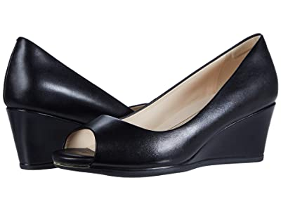 Cole Haan Grand Ambition Open Toe Wedge (55 mm) (Black Leather) Women