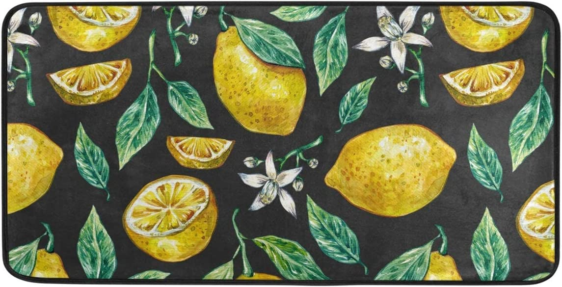 Kitchen Rug Floor Mat Max New mail order 57% OFF Washable - Leaves Flowers Lemon Ma