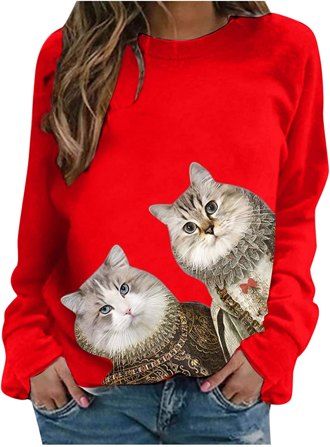 Cat Graphic Sweatshirts for Women Vintage Funny Long Sleeve Shirts with Design Ragdoll Cute Crewneck Tops 2021
