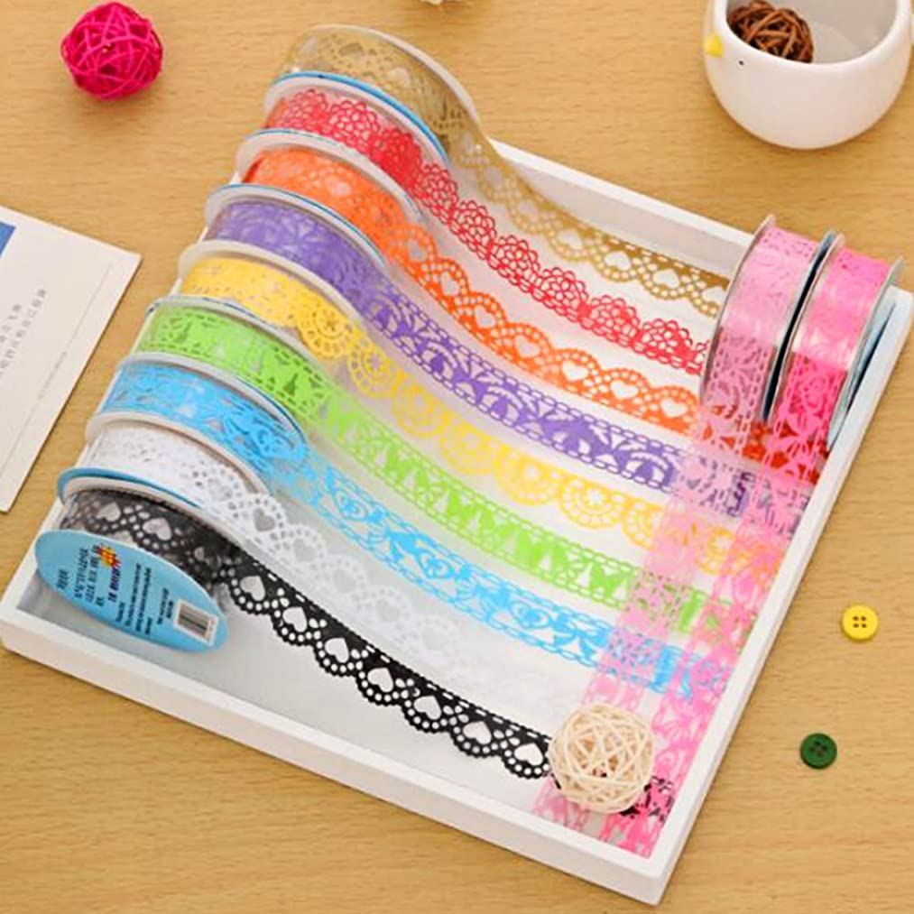 Kangkang@ 12 Roll Lace Style Decorative Washi Tape Sticky Paper for Scrapbooking Phone Notebook DIY Decoration Random Color Pattern