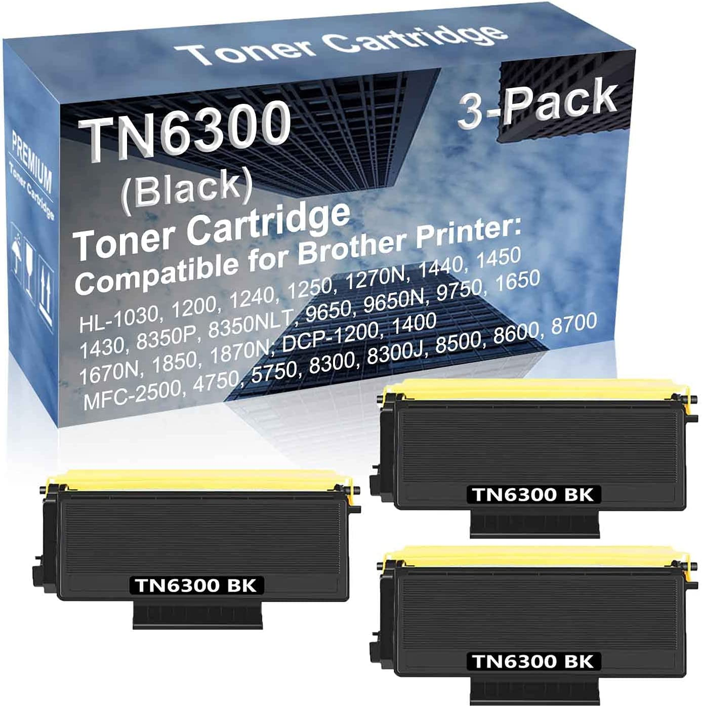 3-Pack Compatible High Yield DCP-1200, 1400; MFC-2500, 4750, 5750, 8300, 8300J, 8500, 8600, 8700 Printer Cartridge Replacement for Brother TN6300 Toner Cartridge (Black)