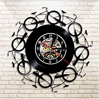 Huanxidp Retro Bicycles Wall Clock Vintage Vinyl Record LP Clock Bikers Bike Wall Art Cycling Home Decor Cyclist Bikes Lov...