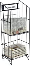 Displays2go Newspaper Rack with Includes a 14 x 4.5 Inches Sign Frame, Black Coated Steel Wire, Floor Standing (NRWRCB2T)