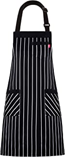 """ALIPOBO Aprons for Women and Men, Kitchen Chef Apron with 3 Pockets and 40"""" Long Ties, Adjustable Bib Apron for Cooking, Serving - 32"""" x 28"""" - Black/White Pinstripe - 1 Pcs"""
