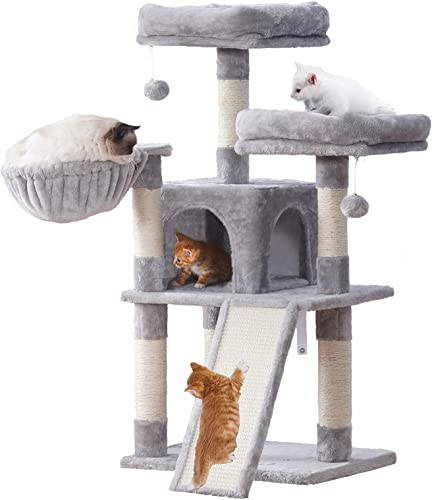 high quality Hey-brother Cat Tree with Cozy Perches,Cat Tower with Scratching Board,Multi-Level high quality high quality Cat Condo with Basket outlet sale