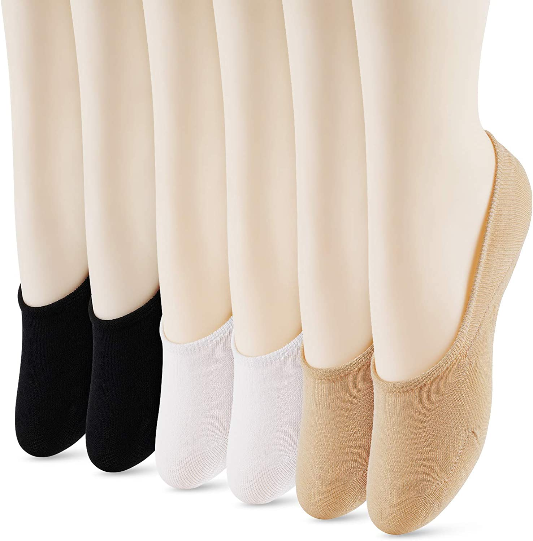WISVOOO 3-6 Pairs No Show Socks Women Non Slip Invisible Liner Socks for Flat Cotton Hidden Socks