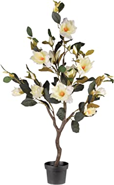 National Tree Compnay Black Artificial Tree 48 Inch Magnolia Fake Plant Indoor and Outdoor - Includes Growers Pot Base