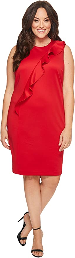 Calvin Klein Plus - Plus Size Sleeveless Dress w/ Asymmetrical Ruffle