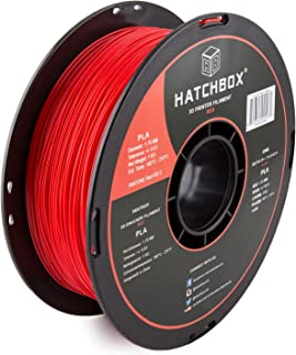 HATCHBOX PLA 3D Printer Filament, Dimensional Accuracy +/- 0.03 mm, 1 kg Spool, 1.75 mm, Red