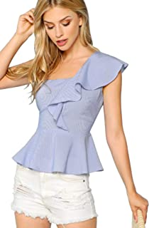 SheIn Women's Sleeveless One Shoulder Ruffle Striped Peplum Blouse Top