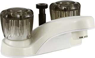 Dura Faucet DF-PL720S-BQ RV Bathroom Faucet with Smoked Acrylic Knobs and Shower Hose Diverter (Bisque Parchment)