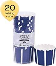Simply Baked CLG-101 Large Baking Cups, 20-Pack, Navy with White Stripe