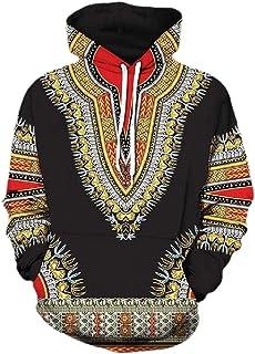 Macondoo Men Slim Pullover Printed Hoodie Dashiki African Sweatshirts