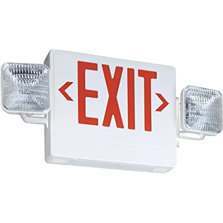Lithonia Lighting Ecr Led M6 Thermoplastic Led Emergency Exit Sign Light Fixture With Red Letters White 2 Led Heads Square Commercial Lighted Exit Signs