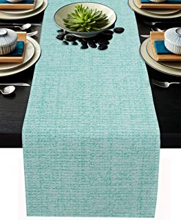 Infinidesign Teal Table Runner, Burlap Linen Table Runners for Home Kitchen Party Wedding Decorations, Machine Washable 13...