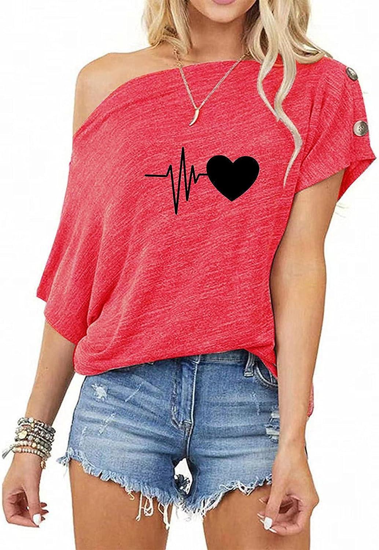 Sunhusing Women Summer Off Shoulder Short Sleeve Heart Printed T Shirts Loose Batwing Sleeve Summer Blouse Tops Shirt