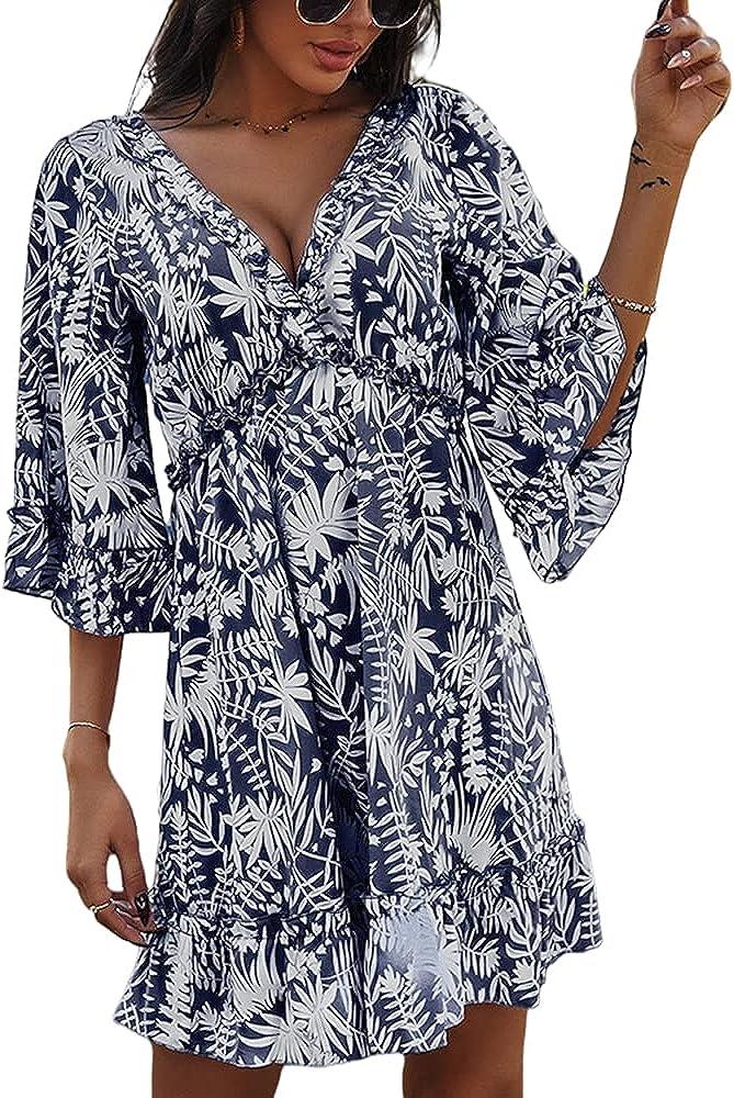 QANSI Women's Fashion 3 4 Super sale Sleeve Super intense SALE Print Flowy Floral Hem Backless