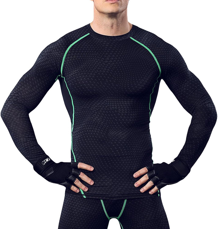 Men's Althletic Mesh Compression Baselayer Shirt(Black_Green s)