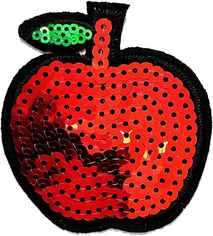 Red Apple Iron on Patches 5 Pcs or Kids Children Baby Embroidered Applique A-2 Iron On Patches