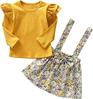 YOUNGER TREE Toddler Girls Outfits 2pcs Clothes Baby Girl Floral Ruffle Long Sleeve Jumpsuit+Strap Bowknot Skirt Outfits