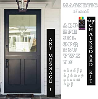 "Plata DIY Porch Welcome Sign Kit | 58"" Vertical Chalkboard + Magnetic Letter Stencils + 6 Waterproof Chalk Markers 