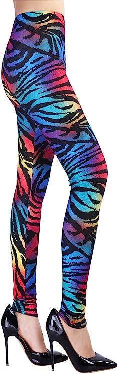 80s Jeans, Pants, Leggings | 90s Jeans SATINIOR Soft Printed Leggings 80s Style Neon Leggings Pants with Assorted Designs for Women and Girls  AT vintagedancer.com