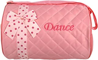 Girl's Silver Hooks Quilted Nylon Dance Duffle Bag with Polka Dot Bow, Light Pink