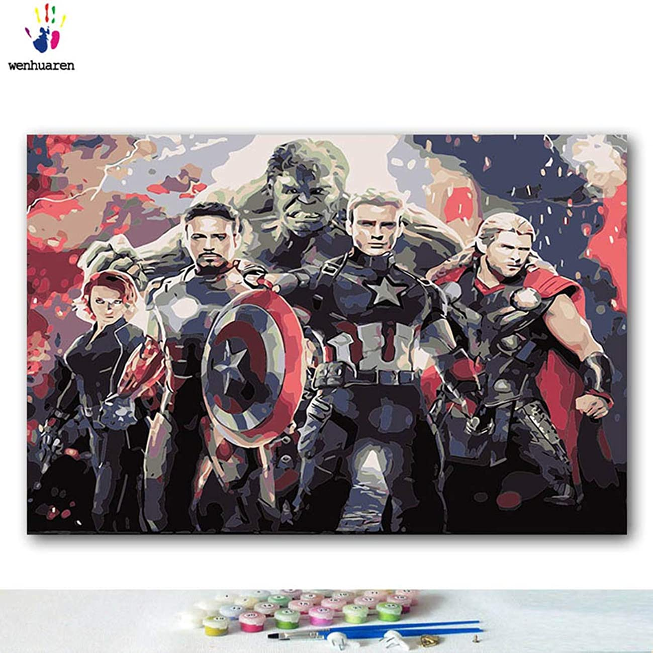 Paint by Number Kits 12 x 18 inch Canvas DIY Oil Painting for Kids, Students, Adults Beginner with Brushes and Acrylic Pigment -Avengers Movie Characters(Without Frame)