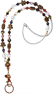 """Hidden Hollow Beads Slim Style Made in USA Women's Fashion Beaded Lanyard, 34"""" Jewelry Lanyard for ID Badge Holder and Key..."""