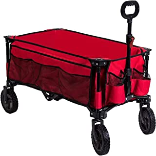 Timber Ridge Camping Wagon Folding Garden Cart Shopping Wagon Heavy Duty Collapsible Cart Utility Wagon with Side Bag and ...