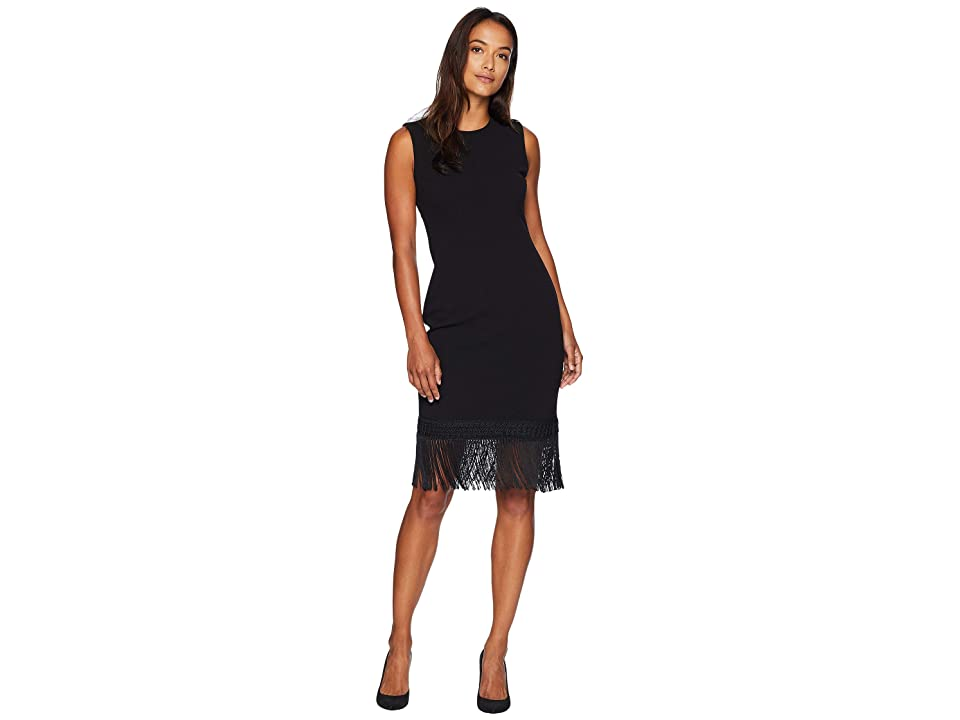 Calvin Klein Fringe Hem Dress CD8C18RR (Black) Women