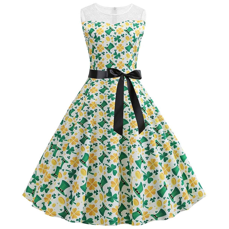 iDWZA Valentine's Day Day Women Vintage Retro Shamrock Prom Swing Dress Summer