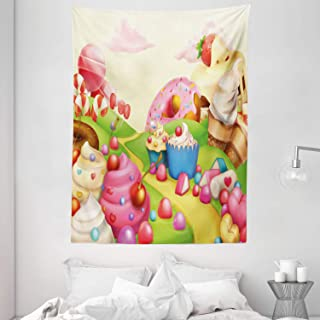 Pink Decor Tapestry, Food Theme Sweet Landscape of Candies Cupcakes Lollipop and Ice Cream Print, Wall Hanging for Bedroom...
