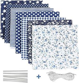 Tela algodon para coser 7 PCS, DIY Floral Telas Patchwork Material Cuadrados con Cuerda Elástica Puente de la Nariz Clip T...
