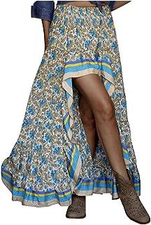 aihihe Womens High Low Side Skirts Boho Floral Print Long Skirt Ruffle Hem Elastic Waist Swing Maxi Dresses