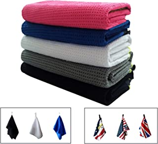Golf Towels for Golf Bags with Clip Men Women Waffle Pack, Microfiber Towel with Grommet USA Flag Eagle UK or Personalized in Color Black Blue White
