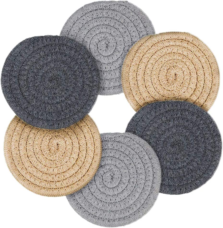 Coasters for Drinks Handmade Braided Set Inch Time sale Quality inspection 4.3 Thick Coaster