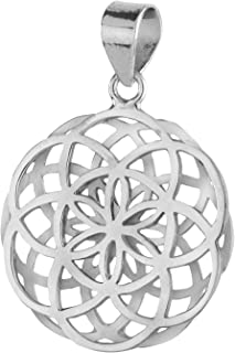Big Double Seed Of Life Pendant Sterling Silver 925 Size 1.2