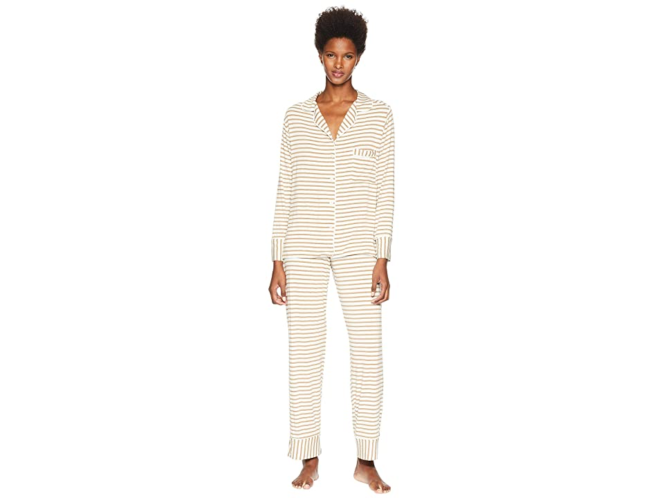 Maison Du Soir Monaco PJ Set (Camel Stripe) Women