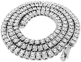 NIV'S BLING - 14K Gold Plated Iced Out Tennis Chain - Mens Hip Hop Necklace - (Gold/Silver/Black/Canary)