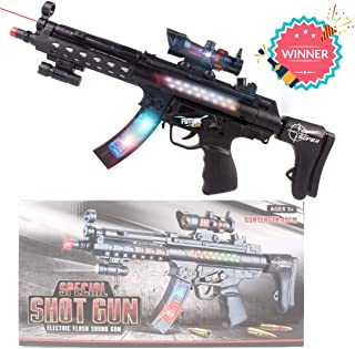 Anstoy Electric Toy Gun Flash Vibration Sound and Light Music Gun Dynamic Sound Effect with LEDs Flash Submachine Gun - Perfect Pretend Play Toy for Boys & Girls Cosplay