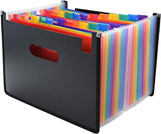 Expanding File Folder/24 Pockets A4 Accordion File Organizer/Multicolor Portable Expanding Wallets/Large Capacity Plastic Stand Bag with Colored Tab for Business/Office/Study